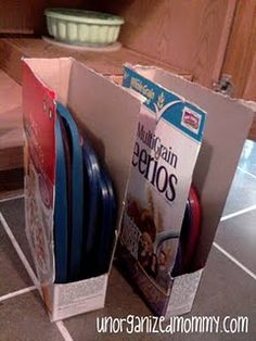Upcycle Cereal Boxes into Plastic Lid Storage.