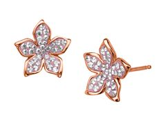 A pair of blush-hued blooms will add a vibrant touch to your look. Crafted from brilliant 14K rose gold over sterling silver, these these stud earrings feature delicate flowers accented with sparkling round-cut, rose Swarovski crystal. Pieces measure 1/2 by 1/2 inches.