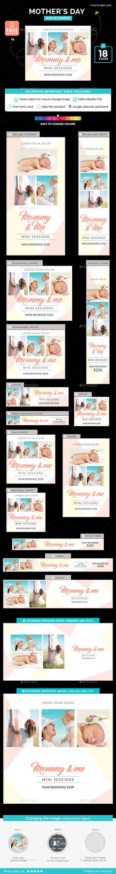 Mothers Day Banners — Photoshop PSD #love #mother's day • Available here → https://graphicriver.net/item/mothers-day-banners/19901637?ref=pxcr