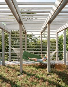 Slideshow: 7 Dreamy Outdoor Spaces | Dwell A family's remote island retreat becomes a more permanent home base, thanks to the efficiency of building modular. Here, one of the family's favorite spots: a hammock on the second green roof of the house. Photo by Matthew Williams.