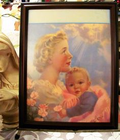 FRAMED Mabel Rollins Harris # Print Mother Baby great for putting an Inscription Print Calendar, Rose Cottage, Mother And Baby, Art Prints, Frame, Painting, Vintage, Store, Ebay
