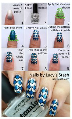 Nail Art Pictorial Tutorial Using PiCture POlish Atomic And Moody Blues Polish Mini Chevron Vinyls Applied Two Coats Of One Coat