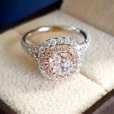 2.90 Ct Natural Double Halo Split Shank Pink Diamonds Engagement Ring