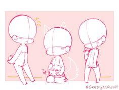 Anime Drawings Sketches, Cute Drawings, Drawing Base, Figure Drawing, Chibi Body, Chibi Sketch, Chibi Drawing, Poses References, Drawing Reference Poses