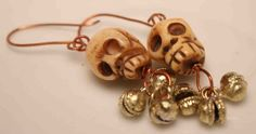 Skull and Copper Earrings with Brass Bells by QuietMind on Etsy