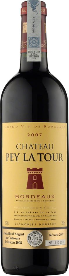 Chateau Pey La Tour Bordeaux A.O.C. Nasze flagowe, codzienne Bordeaux. Aromaty ciemnych owoców, ożywiająca kwasowość i garbniki czynią to wino świetnym kompanem kolacji czy grilla. Wino to zdobyło wyróżnienie Medaille d'Argent au Concours de Macon 2008 - Concours des Grands Vins de France. #Wino #Bordeaux #Winezja #Chateau #PeyLaTour Saint Emilion, Destiny, Restaurants, Tours, Wine, Bottle, Drinks, Vineyard, Pageants