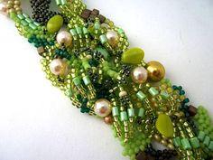 Freeform peyote beaded cuff bracelet Green colours