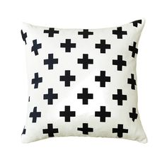 White Swiss Cross Throw Cushion Cover 18 x 18 inch by ZanaProducts