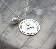Hand stamped #sisternecklace, jewelry for sister, sister necklace, sibling, sister, best friend, gift for sister by InspiredByBronx on Etsy https://www.etsy.com/listing/454844092/hand-stamped-sister-necklace-jewelry-for