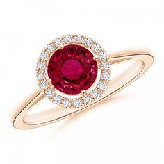 Angara Double Halo Diamond Ring with Accented Shoulders IArau