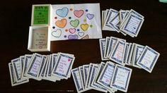 """""""54 Things I Love About You"""". I made for my husband's Valentine's Day gift. I used a pack of playing cards, including jokers. I glued paper to the backs and wrote on them with markers. I used the box that my wedding ring came in and decorated it. Then, I used a coloring sheet for the wrapping. It's early, but you have to plan when doing all home made Christmas gifts this year."""