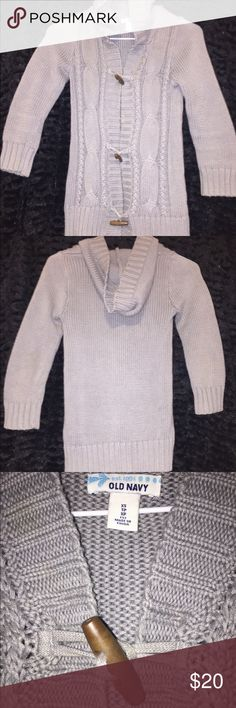 Old Navy Sweater Cinder Smoke Gray XS Old Navy Hooded Sweater w/ wooden clasps. 100% Cotton Old Navy Sweaters