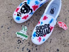 Suicide Squad Shoes. Suicide Squad Vans. Suicide Squad Converse High Tops. Harley Quinn and Joker Shoes. by HJartistry on Etsy #etsy #Harley #suicidesquad #harleyquinn #joker #thesuicidesquad #paintedshoes #paintedvans #paintedsneakers #paintedtoms #skull #villain #villains