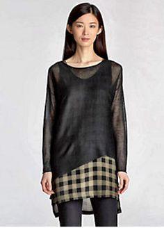Eileen Fisher Buffalo Plaid Silk Tunic layered under Tencel Bateau Neck Top