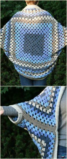 Crochet Self-striping Granny Square CocoonCardigan Free Pattern - Crochet Women Shrug Cardigan Free Patterns
