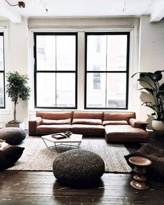 Modern living room with leather sofa