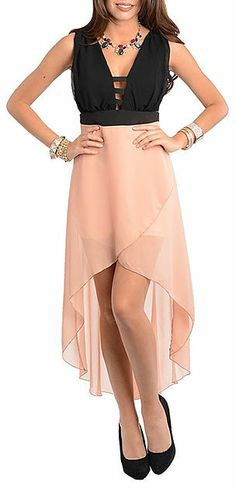 Blush & Black Cutout Hi-Lo Dress