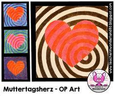 Muttertagsherz: OP-Art (Teacher In Wonderland) Op Art, Chicago Cubs Logo, Diy And Crafts, Wonderland, Valentines, Logos, Teacher, Education, Classroom