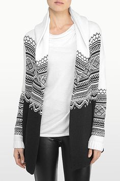 NYDJ - The Original Slimming Fit, JACQUARD HOODED SWEATER, black, Tops > Sweaters, SC213H238