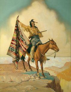 1920s era advertising illustration of a Native American on horseback holding a Pendleton blanket. Photo: Pendleton