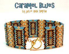 Julie Ann Smith Designs CARAMEL BLUES Odd Count Peyote Bracelet Pattern
