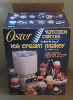 Vintage Oster Kitchen Center Quick-Freeze Ice Cream Maker Accessory in the original box (with minor wear). Use with the Kitchen Center to