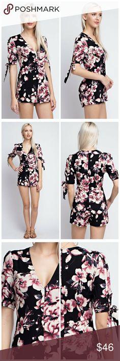 Pretty Pink Flower Romper 3/4 Sleeve V-neck Romper   100% Rayon  Semi sheer Pants Jumpsuits & Rompers