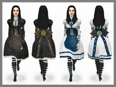 Alice: Madness Returns Set by Alice Liddell, Alice Madness Returns, Alice In Wonderland Drawings, Masquerade Dresses, Were All Mad Here, School Looks, Adventures In Wonderland, My Sims, Steampunk Clothing