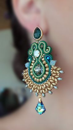 Soutache Earrings, Shiny, blue, mint fashion piece.