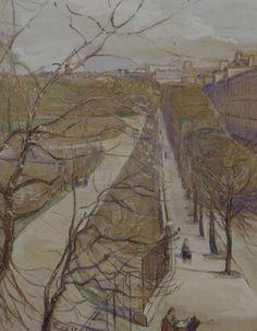 View of the Luxemborg Gardens, Paris by Elizabeth Nourse, watercolour and gouache