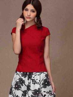 ace0ff8809 Linen Blouse, Linen Shorts, Red Blouses, Shirt Blouses, Cheongsam Dress,  Sexy
