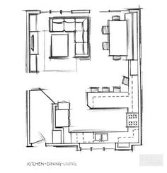 Living Room And Kitchen Design, Open Plan Kitchen Dining Living, Living Room Floor Plans, Open Plan Kitchen Diner, Living Room Plan, Kitchen Dinning Room, Open Concept Kitchen, Open Plan Living, Kitchen Layout Plans