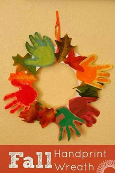 Cute & easy fall wreath - so easy to do, cheap and adds a personal touch from each kid that a parent could not pass up buying!