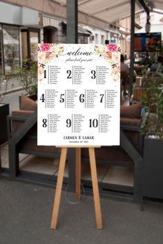 Bohemian Seating Chart Wedding Floral Seating Chart by InkAndVeil