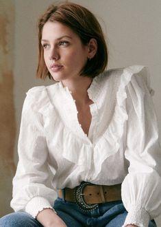 Blouse Vintage, Vintage Tops, 90s Fashion, Fashion Outfits, Boho Fashion, Coton Biologique, Parisian Style, High Collar, Simple Dresses