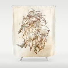 Poetic Lion  Shower Curtain #art #loujah #showercurtains #rideaudedouche #society6 #homedecor