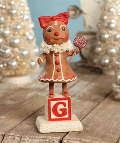 Debra Schoch Sweet Ginger. Gingerbread Girl. Whimsical Christmas Decorations.