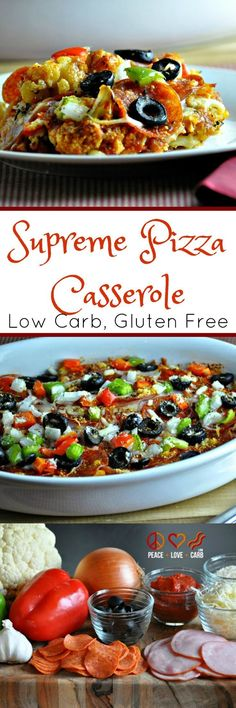 Supreme Pizza Cauliflower Casserole - Low Carb, Gluten Free - this keto friendly pizza is full of delicious tasting ingredients.   Peace Love and Low Carb: