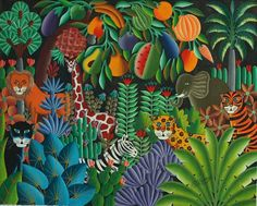 Jungle paintings by Haitian Pierre Maxo