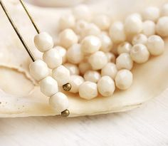 4mm Czech glass beads  Luster Opaque Beige pastel  by MayaHoney