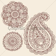 Free Paisley Graphics | ... Paisley Flowers Doodle Vector Design Elements · GL Stock Images