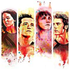 The Hunger Games- Katniss Everdeen, Peeta Mellark, Johanna Mason, Finnick Oddair. I really think, Susan Collins shouldn't kill Finnick's character. I want to= Finnick and Johanna, no Finnick and Annie :D