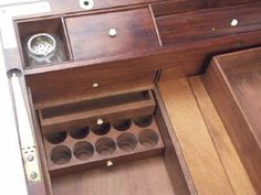 A Campaign Box with elaborate secret drawers and compartments Circa 1800 bytes)