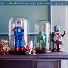 old toys in a bell jar #decor #belljar