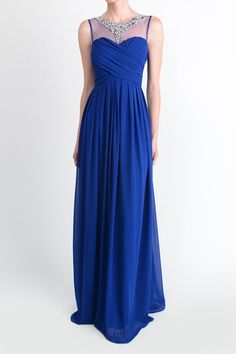 Affordable Floor length Jeweled ruched Long Bridesmaid Dress in Royal Blue, Mint and Coral
