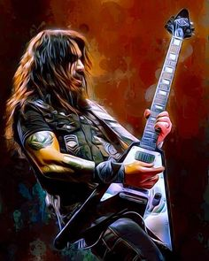 Robb Flynn Painting Metal Print by Scott Wallace Digital Designs. All metal prints are professionally printed, packaged, and shipped within 3 - 4 business days and delivered ready-to-hang on your wall. Metallic Paint, Rock Art, Poster, Digital, Prints, Painting, Design, Cave Painting, Painting Art