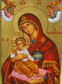 Behold thy Mother and Holy Queen! Virgin Mary with angels.Traditional byzantine art with egg tempera and gold leaf. Religious Images, Religious Icons, Religious Art, Byzantine Icons, Byzantine Art, Religious Paintings, Blessed Mother Mary, Holy Mary, Madonna And Child