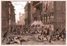 Verona - le Pasque Veronesi  del 18 aprile 1797- incisione acquarellata a mano