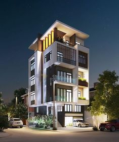 Modern architecture of the building in the center of the city! It's so trending and nice in 3 Storey House Design, Duplex House Design, House Front Design, Small House Design, Architecture Building Design, Facade Design, Residential Architecture, Exterior Design, Minimalist House Design