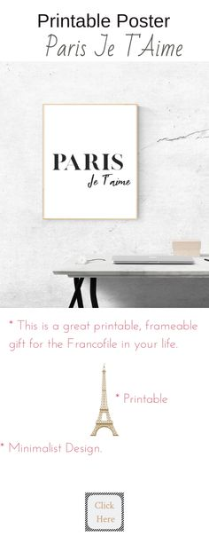 Print, Frame and give this minimalist printable poster to the Francophile in your life ...unless, of course, that is you.